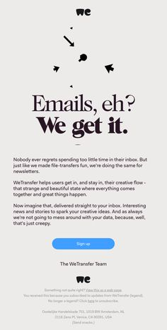 Business / Digital / Marketing WeTransfer sent this email with the subject line: A newsletter worth Newsletter Design Templates, Email Template Design, Email Newsletter Design, Email Newsletters, Email Templates, Newsletter Layout, Email Layout, Web Layout, Blog Layout