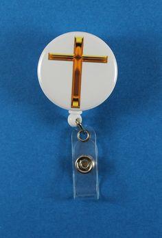 Gold Cross Button Retractable Badge Reel, ID Badge Holder