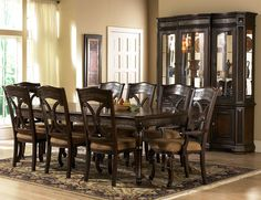 Dark Wood Dining Room Set with Leg Table, Costa Dorada Collection by Pulaski