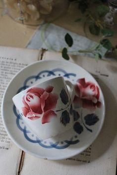 「ディゴアン サルグミンヌ窯 CANNES(カンヌ) カップ&ソーサー 」ココン・フワット Coconfouato [アンティーク照明&アンティーク家具] フレンチアンティーク キャニスターセット ホーロー 陶器 テーブルウェア --kitchen--