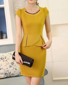 Casual Dresses, Short Dresses, Fashion Dresses, Peplum Dress, Bodycon Dress, Sunday Dress, Dress Sewing Patterns, Fashion Sewing, Classy Dress