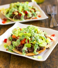 Healthy Black Bean Tostadas with Cilantro Sauce — Pinch of Yum