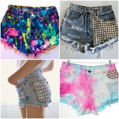hot pants customizados com tachas e cores