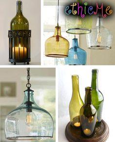 lampadari e porta candele dalle bottiglie di vetro