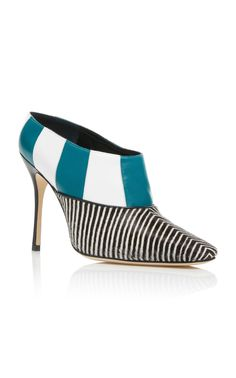 """Manolo Blahnik """"Karamasov Bootie"""" in blue, white and black-and-white-stripe-printed calfhair with geometric pattern, almond toe, pull-on construction and high contrasting stiletto heel 