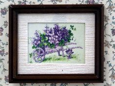 Violets dollshouse miniature picture. Y155.
