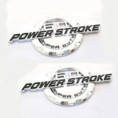 Chrome 2 Pack 6.0L POWER STROKE SUPER DUTY Side Fender Emblems Badge Powerstroke 3D logo Compatible for Ford F250 F350