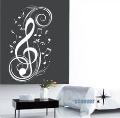 Music note flying 40inch--Removable Graphic Art wall decals stickers home decor to buy by bertha