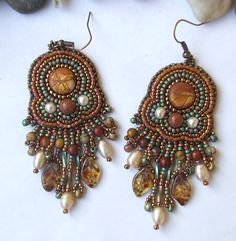 Bead embroidery earrings Indian summer colorful long earrings summer fashion
