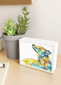 Framed mini art prints make great gifts. Get this wolf painting add art into your everyday. This art print comes from an original acrylic and ink markers wild animal painting on paper. Wolf Painting, Colorful Wall Art, Animal Paintings, Artwork Prints, Wall Tapestry, Wilderness, Markers, Artsy, Lovers
