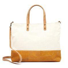 Handtasche «Yellow Stripe» aus Kork – Kork Tasche mit Baumwolle Blue Bow Tie, Vegan Fashion, Laptop Tote, Fanny Pack, Sustainable Fashion, Handbags