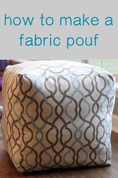 Diy Ottoman, Fabric Ottoman, Homemade Ottoman, Sewing Hacks, Sewing Crafts, Sewing Ideas, Diy Puffs, Empire Ottoman, Christmas Crafts For Adults