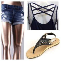 A summer staple. Cute jean shorts with criss cross back top and cute detailed sandals!