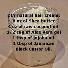 DIY natural hair cream (shea butter, coconut oil,aloe vera gel & jojoba oil, castor) Hair 16 Brilliant Summer Hair Hacks You Never Knew You Needed Natural Hair Cream, Pelo Natural, Natural Hair Tips, Natural Hair Journey, Natural Hair Recipes, Going Natural, Natural Beauty, Natural Hair Mask, Natural Twists