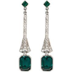 Rental Ben-Amun Linear Emerald Drops ($20) ❤ liked on Polyvore featuring jewelry, earrings, green, diamond earrings, emerald green jewelry, ben amun jewelry, post earrings y long jewelry