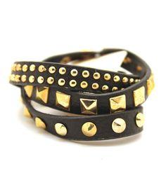 Studded Leather Band Wrap Bracelet