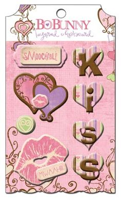 Bo Bunny Press - Smoochable Collection - Layered Chipboard Stickers with Glitter and Jewel Accents at Scrapbook.com $4.49