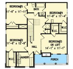 Plan Second Floor Porch Southern House Plans, Southern Homes, Country House Plans, Porch Plans, Big Bedrooms, Second Floor, Master Suite, Two By Two, Floor Plans