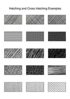 Hatching and Cross Hatching examples. KV, BR, MW Section 4 This pin shows fifteen different examples of what hatching and cross-hatching can look like. Hatching is a technique used to create tonal or shading effects by drawing closely spaced parallel lines. Cross-Hatching is when lines are placed at an angle to one another.