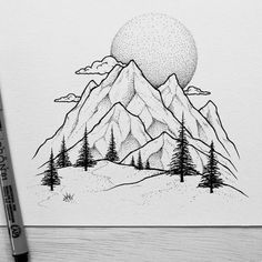 Art Sketches Ideas - Picture result for mountain wall painting Art Inspo, Kunst Inspo, Inspiration Art, Drawing Sketches, Cool Drawings, Pencil Drawings, Art Sketches, Drawing Ideas, Sketching