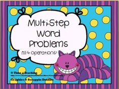 Word problem task cards for all 4 operations.  These 48 two and three step word problems give your students the opportunity to stretch their powers of thinking and reasoning. Perfect for math centers, small groups, or even whole class activities! $
