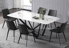 The Leighton Marble Top Dining Table, Tables - Fancy Homes has the latest tables that's available in a style that suits your home. Shop online today or visit our showrooms Marble Top Dining Table, Dining Chairs, Fancy Houses, Marble Pattern, Tables, Homes, Contemporary, Suits, Shop