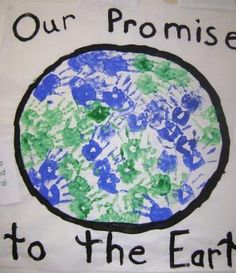 kindergarten collaborative hand print Earth Day earth art project