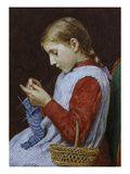 A Girl Knitting Schilderijen van Albert Anker