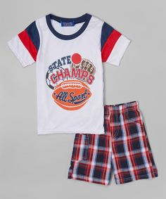 Look what I found on #zulily! White 'State Champs' Tee & Plaid Shorts - Infant, Toddler & Boys #zulilyfinds