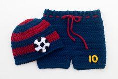 Baby Boy Soccer HAT & SHORTS Football Crocheted by Grandmabilt