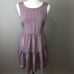 """Band of Gypsies Printed Dress S Super cute and lightweight polyester dress with criss cross back and waist cinching tie. 32"""" length. 100% polyester. Excellent condition. Band of Gypsies is sold at Urban Outfitters. Band of Gypsies Dresses Midi"""