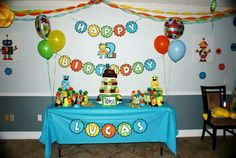 Robot Birthday Party Cake Table by Gwendolyn Calderon with MiaBellaCreationz
