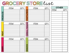 Printable Grocery Store List Chart from Thirty Handmade Days