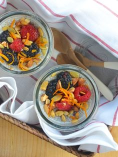 Chia Seed Breakfast Pudding!  Make ahead for the week: pop them in the fridge = instant breakfast!