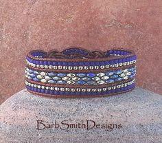 Blu cobalto argento perline bracciale di cuoio di BarbSmithDesigns