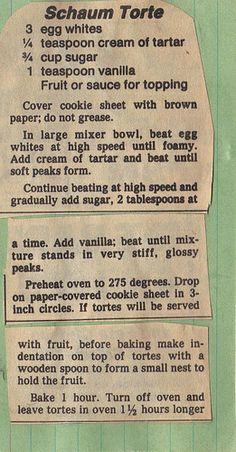 Vintage Shaum Torte Recipe