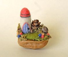 Tiny Fairy Castle Needle Felted Walnut Shell by gingerlittle, $26.00