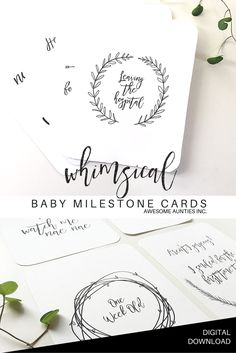 Sweet whimsical monochrome Baby Milestone Cards.  PDF Digital Download by Awesome Aunties Inc.