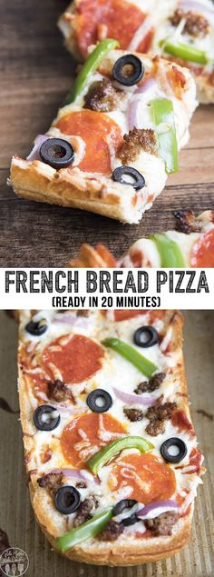 French bread pizza is the perfect way to have homemade pizza in only 20 minutes…. French bread pizza is the perfect way to have homemade pizza in only 20 minutes. With a crusty french bread crust, topped with your favorite pizza toppings. Pizza Recipes, Easy Dinner Recipes, Easy Meals, Cooking Recipes, Pain Pizza, Pizza Pizza, Pizza Rolls, French Bread Pizza, Making Homemade Pizza
