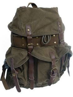 145 Medium Stylish 100 Cotton Canvas Backpack C02GRN * Read more reviews of the product by visiting the link on the image.