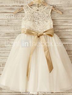 Prenses Diz Boyu Çiçekçi Kız Elbisesi - Dantelalar / Tül Kolsuz Yuvarlak Yaka ile Fiyonk / Kurdeleler 2016 - $62.99