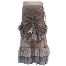 Steampunk Victorian Ruffle Grey Lace Skirt Long Short Adjustable 10/12 Small/Med