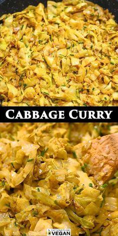 Delicious Vegan Recipes, Vegetarian Recipes, Healthy Recipes, Tasty, Plant Based Recipes, Vegetable Recipes, Cabbage Curry, Low Carb Recipes, Cooking Recipes