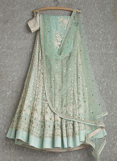 Mint lehenga and dupatta with white thread work Indian Attire, Indian Ethnic Wear, Indian Style, Indian Wedding Outfits, Indian Outfits, Wedding Attire, Pakistani Dresses, Indian Dresses, Indian Lehenga