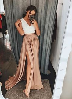 A Line V Neck White Top Lace Champagne Skirt Split Prom Dresses Long, Formal Graduation on Storenvy Split Prom Dresses, Lace Party Dresses, Grad Dresses, Cheap Prom Dresses, Homecoming Dresses, Bridesmaid Dresses, Dance Dresses, Long Dresses, Dress Long