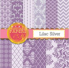 Purple and silver digital paper,lilac digital paper, lilac and silver backgrounds 12 scrapbook papers