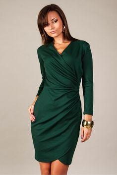 Sukienka Model Rebeka Dark Green #modadamska  #sukienkiletnie #sukienka #suknia #sukienkikoktajlowe