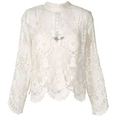 Twin-Set longsleeved macramé blouse ($268) ❤ liked on Polyvore featuring tops, blouses, white, long sleeve blouse, long sleeve tops, white blouse, white long sleeve blouse and white top
