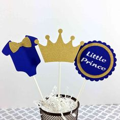 Blue & Gold Little Prince Cake Topepers