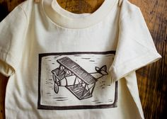 $24 size 2 toddler Airplane Children's TShirt - Eco Friendly Organic  - Biplane Block Printed in chocolate brown - 2T, 3T, 4T - Gift Idea for Boys